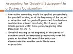 accounting for goodwill subsequent to a business combination7