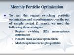 monthly portfolio optimization