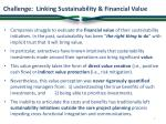 challenge linking sustainability financial value