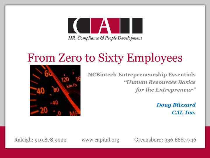From Zero to Sixty Employees