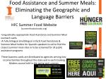 food assistance and summer meals eliminating the geographic and language barriers