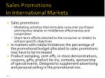 sales promotions in international markets