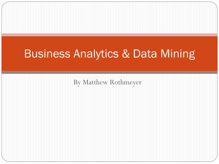 business analytics data mining n.
