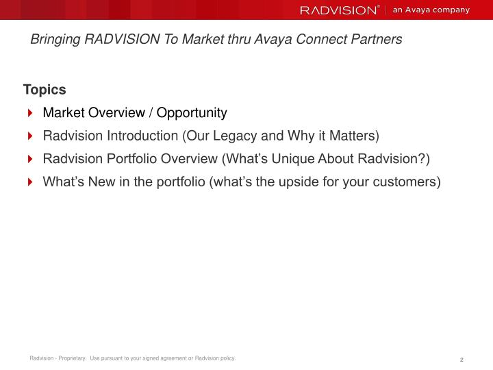 Bringing radvision to market thru avaya connect partners