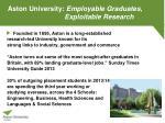 aston university employable graduates exploitable research