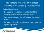 key factors to assess in the host country prior to going international