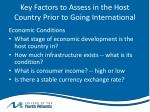 key factors to assess in the host country prior to going international1