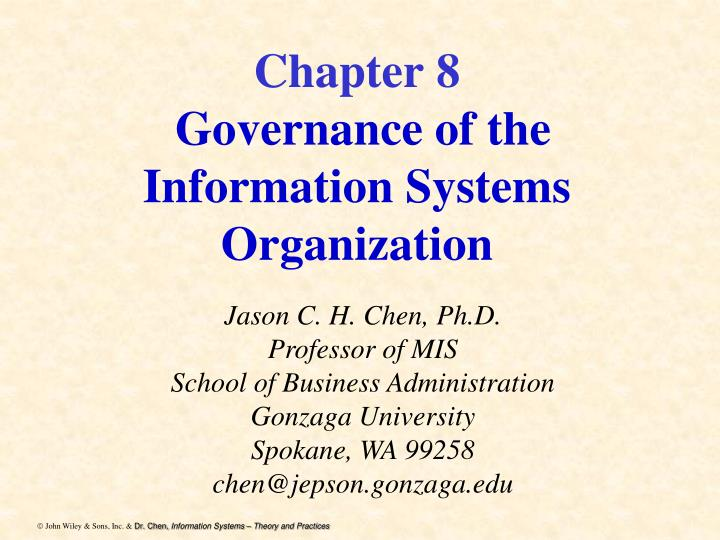 chapter 8 governance of the information systems organization n.