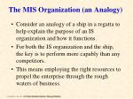 the mis organization an analogy
