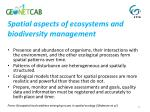spatial aspects of ecosystems and biodiversity management