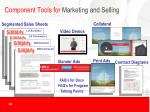 component tools for marketing and selling