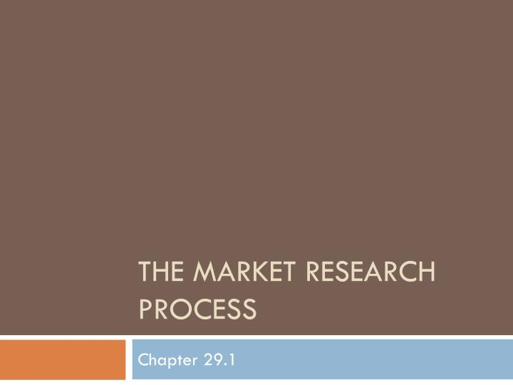 the market research process n.