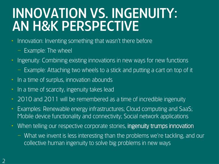 Innovation vs ingenuity an h k perspective