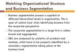 matching organizational structure and business segmentation1