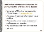 1997 review of h azcom literature for osha was the only one for a decade