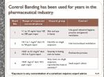 control banding has been used for years in the pharmaceutical industry
