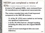 niosh just completed a review of sdss c crawford l hodson and c geraci 2011 aihce poster
