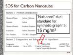sds for carbon nanotube