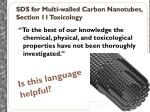 sds for multi walled carbon nanotubes section 11 toxicology