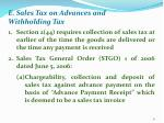 e sales tax on advances and withholding tax