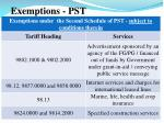 exemptions pst