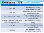 exemptions pst1