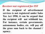 receiver not registered for fst