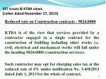 sst issues ktba views letter dated november 27 2013