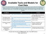 available tools and models for cost data