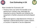 cost estimating in ea