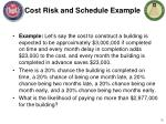 cost risk and schedule example