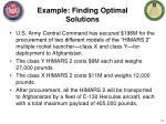 example finding optimal solutions