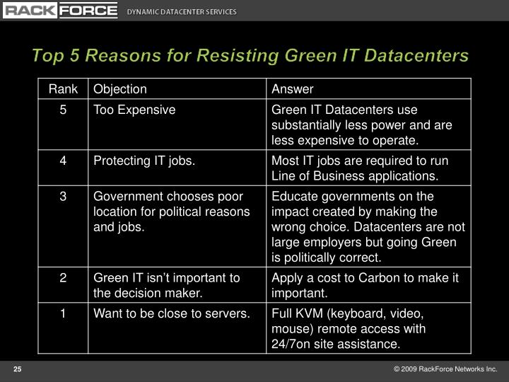 Top 5 Reasons for Resisting Green IT Datacenters