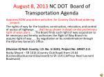 august 8 2013 nc dot board of transportation agenda
