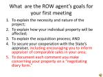 what are the row agent s goals for your first meeting