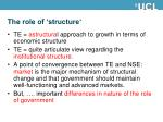 the role of structure