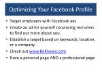 optimizing your facebook profile