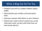 what a blog can do for you