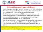 balanced scorecard program outcomes
