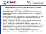 balanced scorecard program recommendations