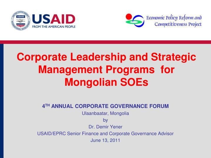 corporate leadership and strategic management programs for mongolian soes n.