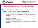 selecting the specific measurements in the cgri