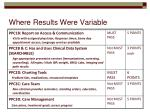 where results were variable