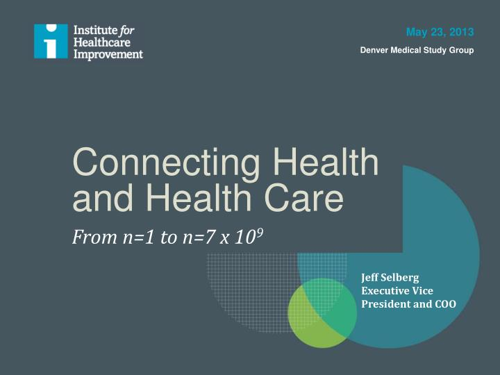 connecting health and health care n.