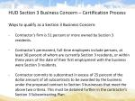 hud section 3 business concern certification process