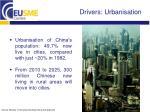 drivers urbanisation
