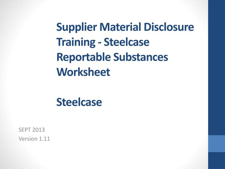supplier material disclosure training steelcase reportable substances worksheet steelcase n.