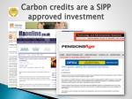 carbon credits are a sipp approved investment