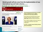 market growth will also come from the implementation of new international cap and trade schemes