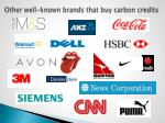 other well known brands that buy carbon credits